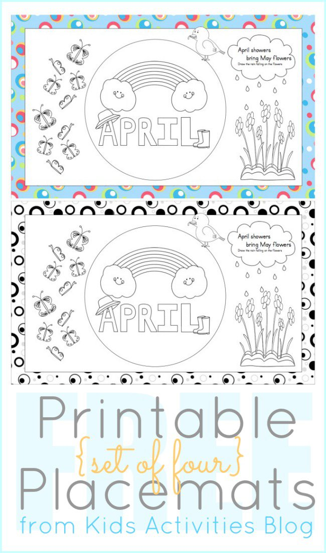 Printables to Color - April Placemats for Kids - The Printables Library