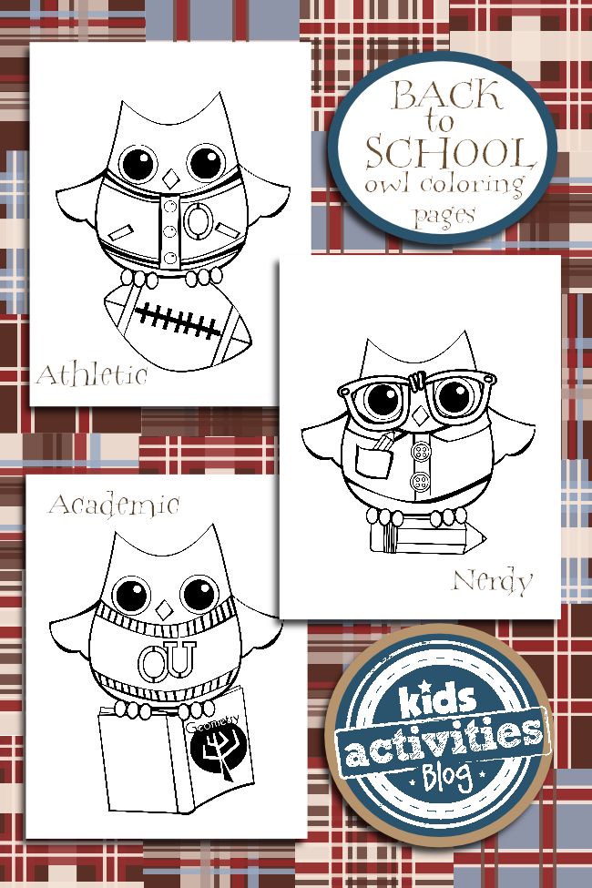 Owl Themed Back to School Coloring Pages