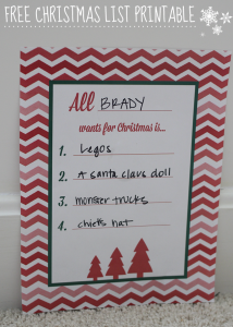 Christmas List printable
