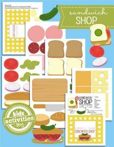 Printable Toy - sandwich shop