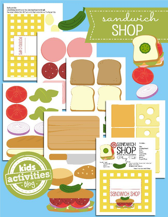 Printable Toys: Open a Paper Sandwich Shop