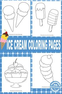Ice cream themed coloring pages to print
