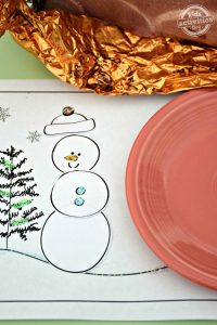build a snowman placemat for kids