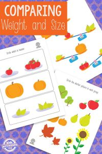 Comparing weight and size printables for preschoolers