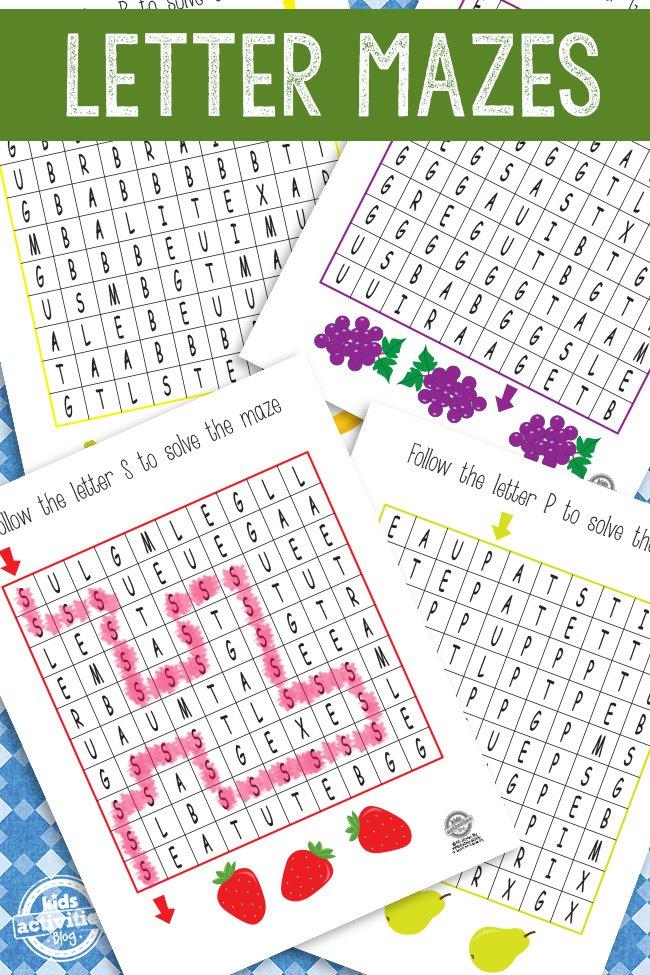 Printable Letter Mazes for kids