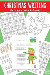 Christmas themed writing practice sheets for kindergarten