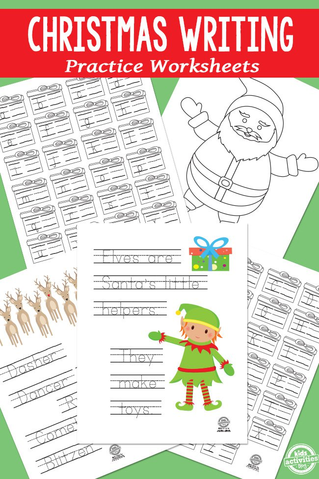 Christmas Writing Practice Worksheets for Kids