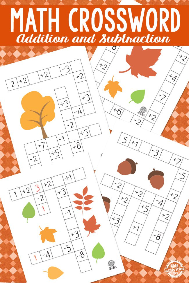 Math Crossword puzzles for kids