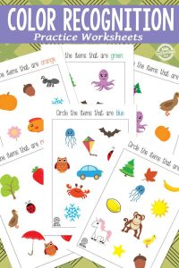Color Recognition practice worksheets for kids