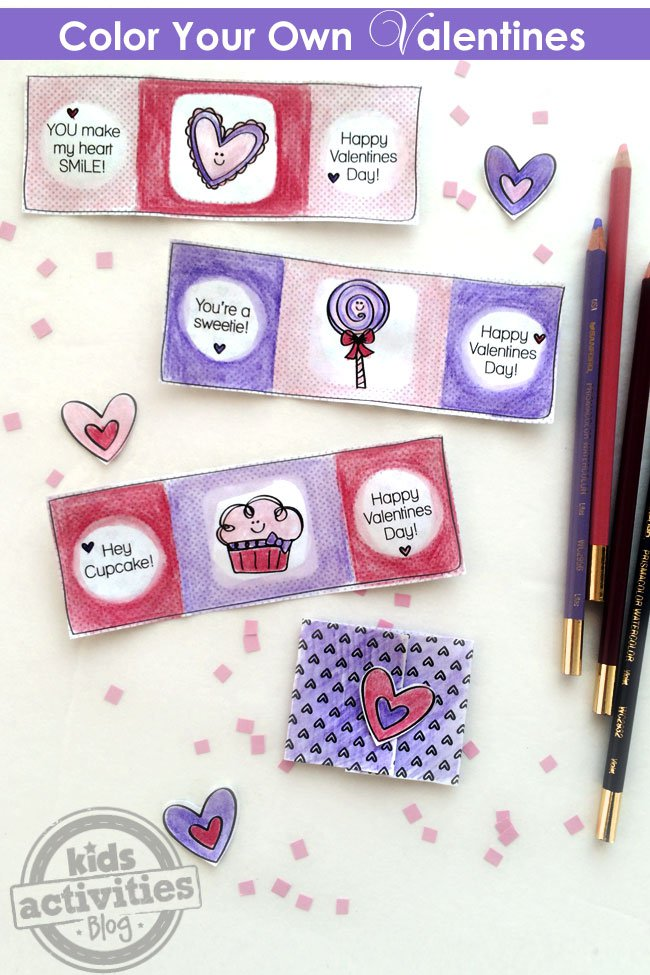 Color your own Valentines printables for kids