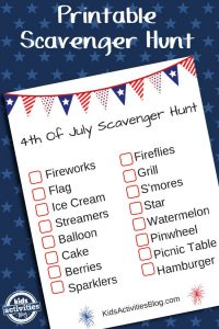 Fourth of July Printable Scavenger Hunt