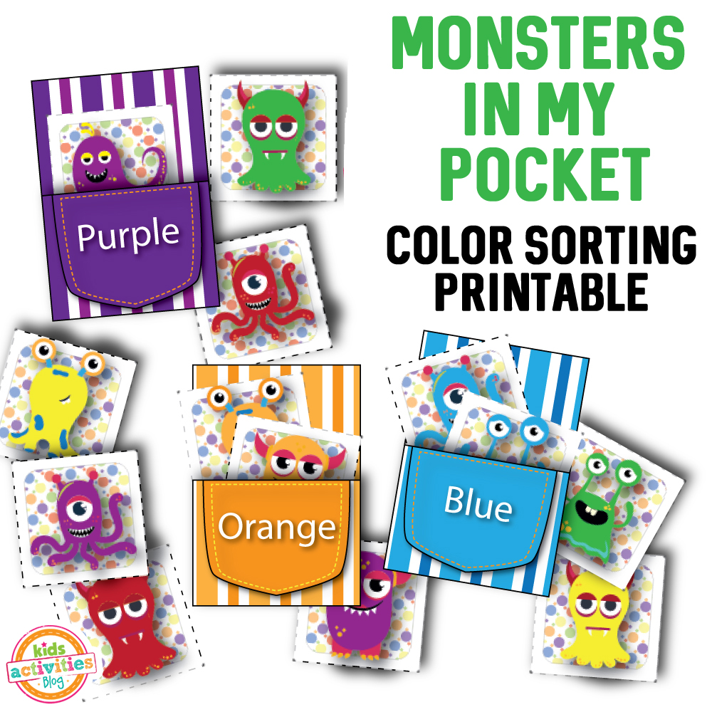 Monster in My Pocket Color Sorting Printable - The ...