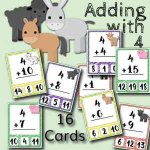 Barnyard Addition Clip Cards – Adding with 4