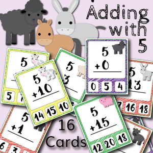 Barnyard Addition Clip Cards – Adding with 5