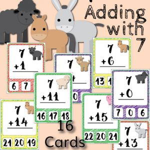 Barnyard Addition Clip Cards – Adding with 7