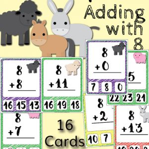 Barnyard Addition Clip Cards – Adding with 8