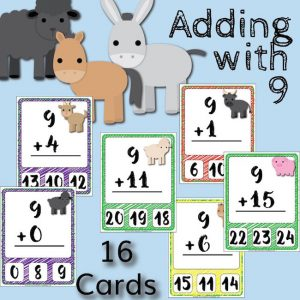 Barnyard Addition Clip Cards – Adding with 9
