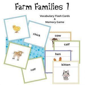 Farm Families Flash Cards and Memory Game