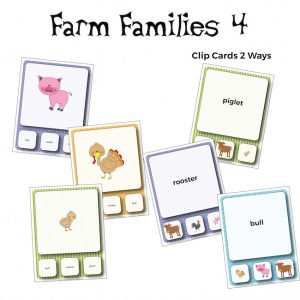 Farm Families Vocabulary Clip Cards