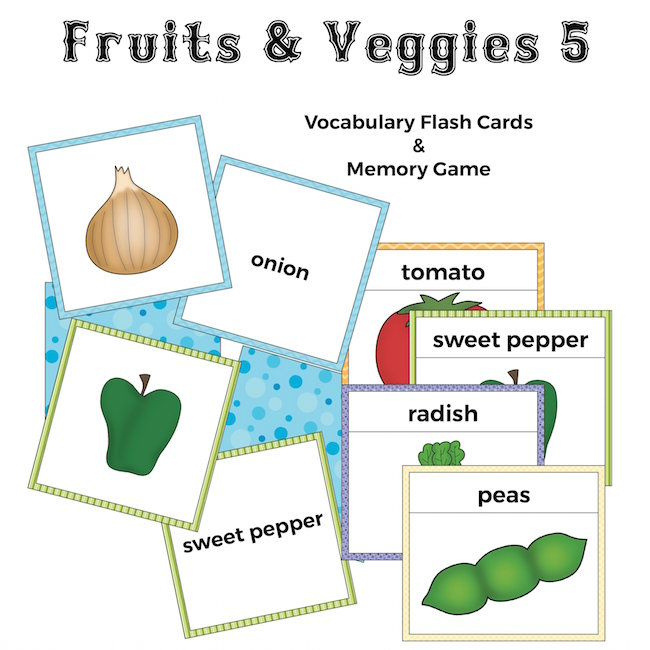 Fruits and Veggies Flash Cards and Memory Game