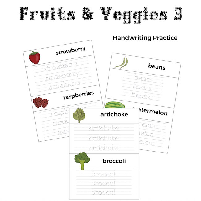 Fruits and Veggies Handwriting Practice