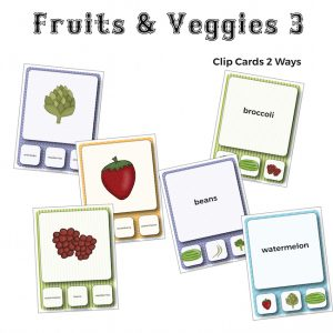 Fruits and Veggies Vocabulary Clip Cards