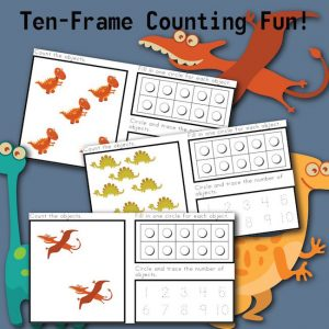 Ten Frame Counting Fun with DINOSAURS!