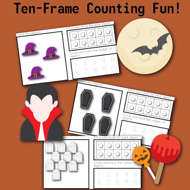 Ten Frame Counting Fun with HALLOWEEN!