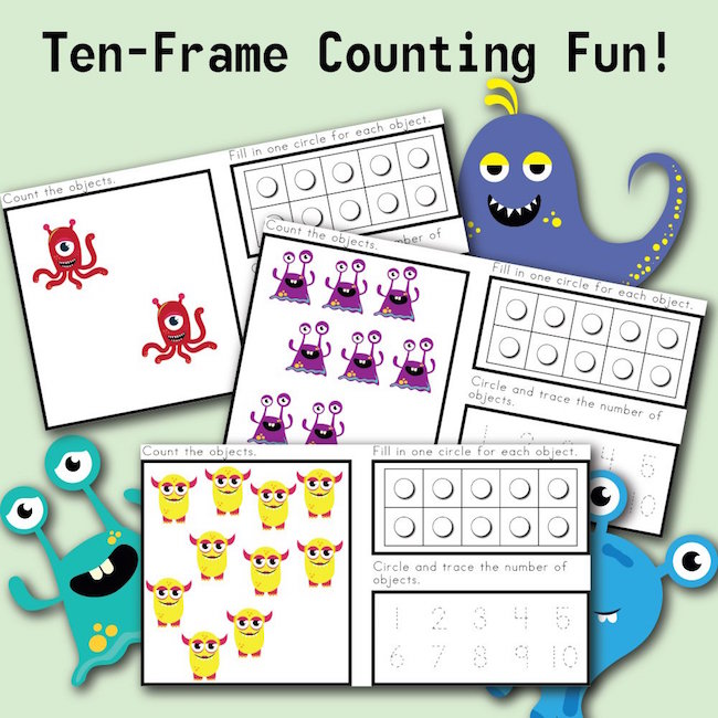 Ten Frame Counting Fun with MONSTERS!