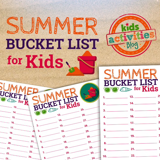 Make memories this summer with a family Summer Bucket List! This colorful printable Summer Bucket List for Kids can help! Find it at The Printables Library at Kids Activities Blog!
