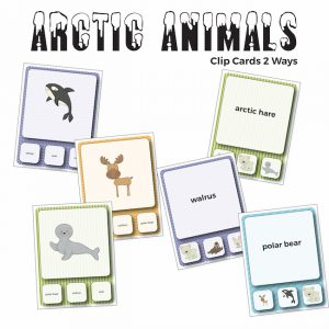 Arctic Animals Vocabulary Clip Cards