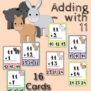 Barnyard Addition Clip Cards – Adding with 11