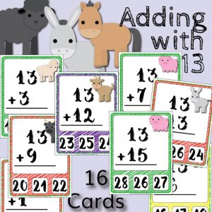 Barnyard Addition Clip Cards – Adding with 13