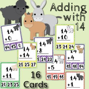 Barnyard Addition Clip Cards – Adding with 14