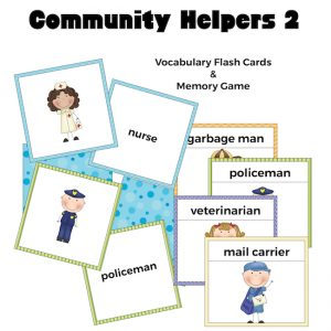 Community Helpers 2 Flash Cards and Memory Game
