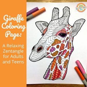 Giraffe Coloring Page Zentangle