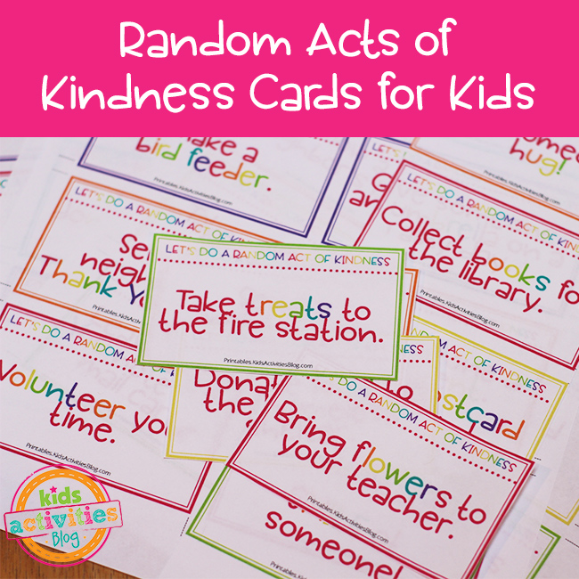 Random Acts of Kindness Printable Cards for Kids