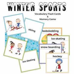 Winter Sports Flash Cards and Memory Game