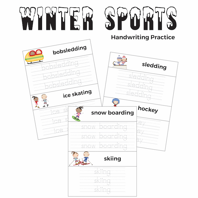Winter Sports Handwriting Practice