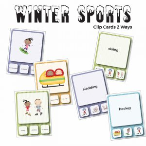 Winter Sports Vocabulary Clip Cards