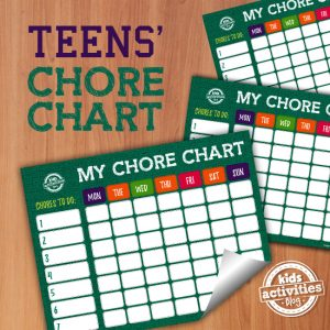 Printable Chore Chart for Teens
