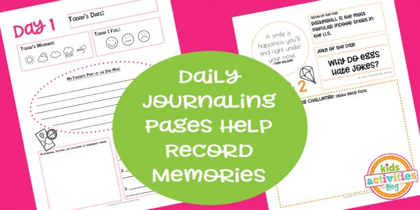 Daily Journaling Pages from the Travel Journal for Kids