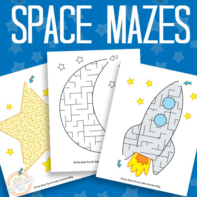 Space Mazes Free Printables for Kids