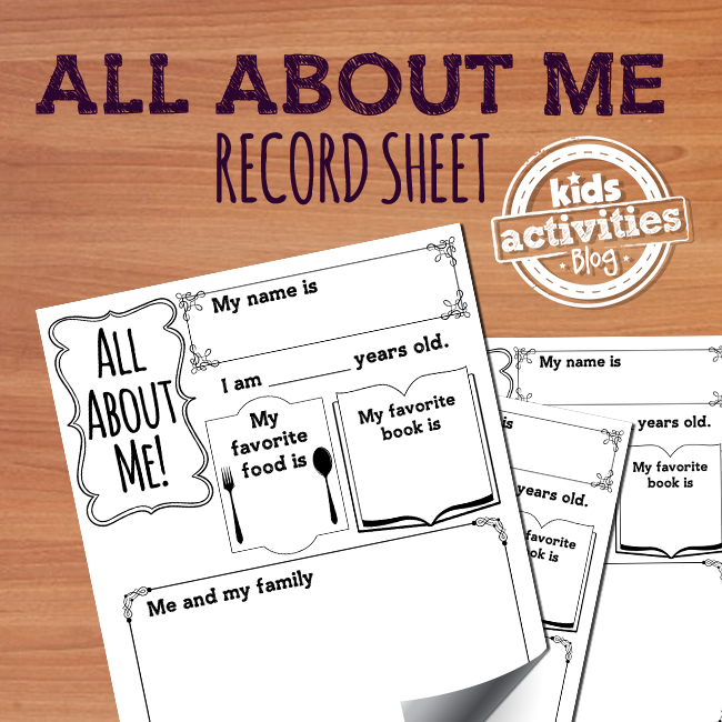 Printable All About Me Back to School Activity