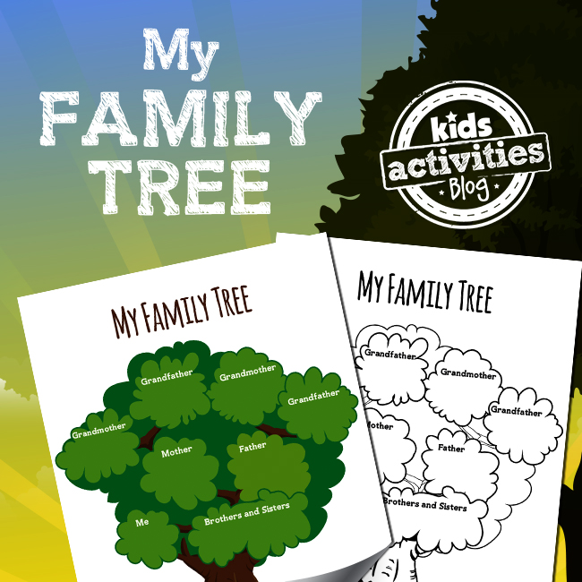 My Family Tree Printable Worksheet Activity for Kids