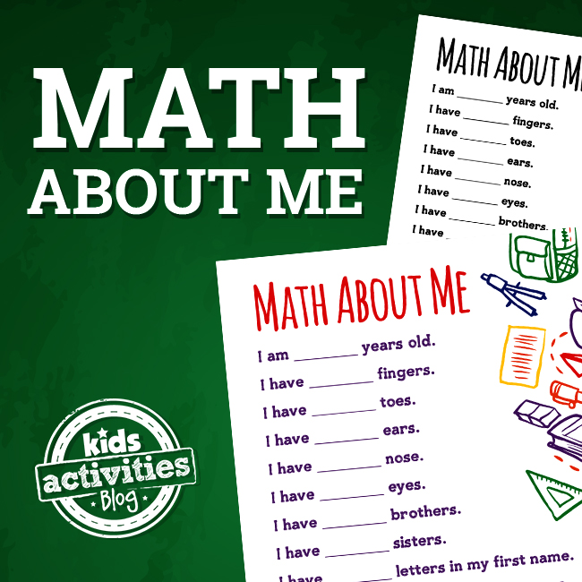 Math About Me Printable Worksheet