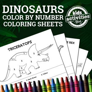 Dinosaur Color By Number Coloring Sheets