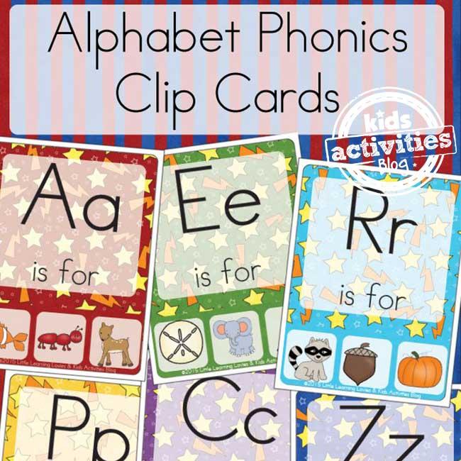 Alphabet Phonics Clip Cards for Preschool Learning