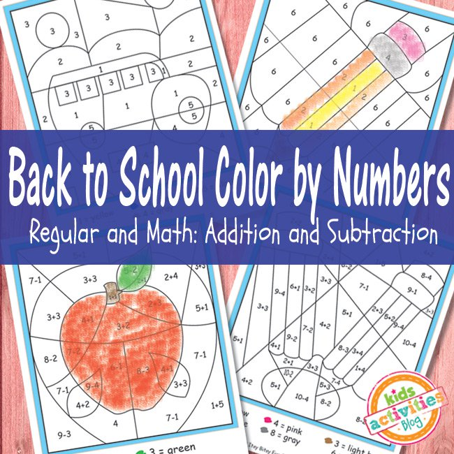 Back to School Addition and Subtraction Color by Number