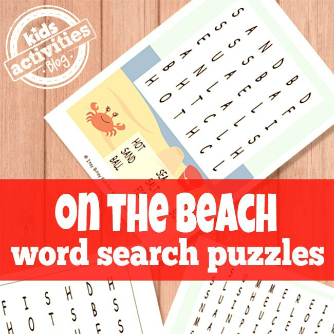 Beach Word Searches for Kids